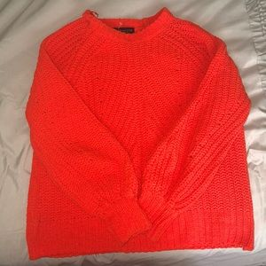 BRIGHT ORANGE KNITTED COWL SWEATER